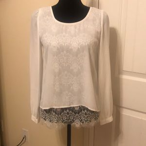 💟Mine White Ivory Long Sleeve Blouse Lace NWT💟